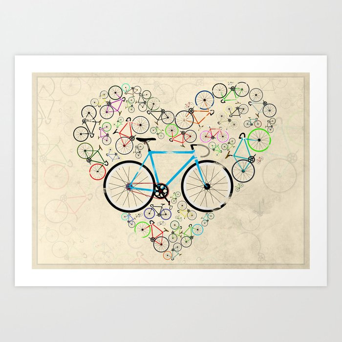 I Love My Bike Art Print By Andyscullion Society6