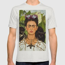 SELF PORTRAIT WITH THORN NECKLACE AND HUMMING BIRD - FRIDA KAHLO T-shirt