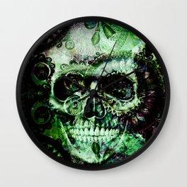 Green skull Wall Clock