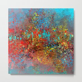 Abstract Painting in Red, Turquoise, Yellow, Black Metal Print