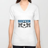soccer V-neck T-shirts featuring soccer mom by Tassara