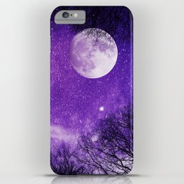 Nightsky with Full Moon in Ultra Violet iPhone Case