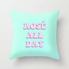 Rosé All Day - Retro Pop Art Throw Pillow
