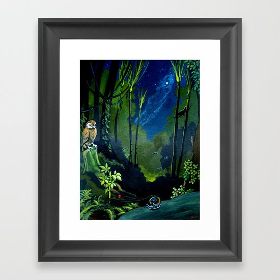 Silent Night in the New Zealand Forest Framed Art Print