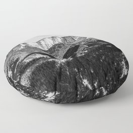 Black and White Mountains Landscape Floor Pillow