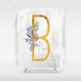 Modern glamorous personalized gold initial letter B, Custom initial name monogram gold alphabet prin Shower Curtain