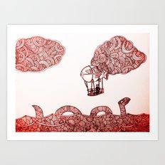 Nesi and the flying machine Art Print