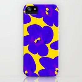 Blue Retro Flowers Yellow Background #society6 #decor #buyart iPhone Case