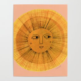 Sun Drawing Gold and Pink Poster