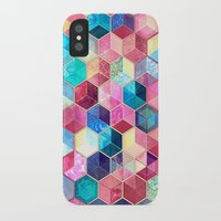 crystal iPhone & iPod Cases featuring Topaz & Ruby Crystal Honeycomb Cubes by micklyn