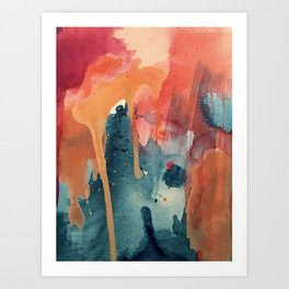 Pour Some Sugar on Me: a colorful mixed media abstract in pinks blues orange and purple Art Print