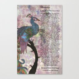 The Desiderata Poem on Antique Peacock Paper Canvas Print