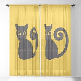 Black vector cat with orange eyes Sheer Curtain