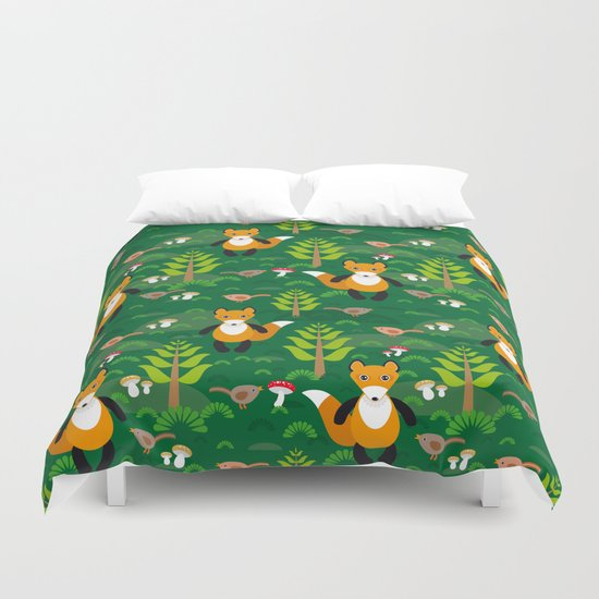 Fox and birds in the forest Duvet Cover