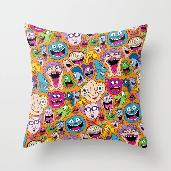 Creepy Smiles Pattern Throw Pillow
