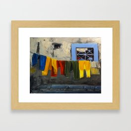 Colorful Clothesline Framed Art Print