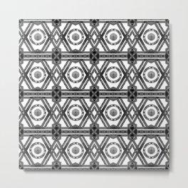 Geometric Black and White Tribal-Inspired Repeat Pattern Metal Print