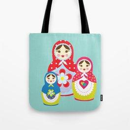 Turquoise babushka , matryoshka , russian doll , nursery decor , children gift, birthday gift Tote Bag