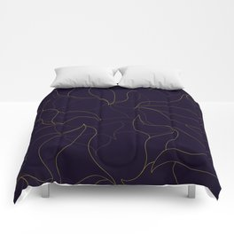 Abstract fine line waves - black and gold Comforters
