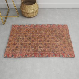Mustard Floral Vine I // 17th Century Distressed Red Yellow Blue Colorful Ornate Accent Rug Pattern Rug