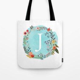 Personalized Monogram Initial Letter J Blue Watercolor Flower Wreath Artwork Tote Bag
