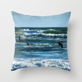 Pelicans Surf Top Flying Throw Pillow