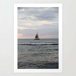 Boat off of Waikiki at Sunset Art Print
