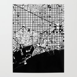 Barcelona city map black and white Poster