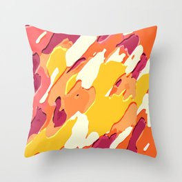 red pink yellow and orange camouflage graffiti painting background Throw Pillow