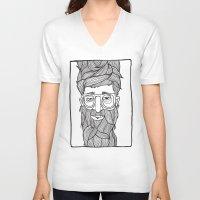 beard V-neck T-shirts featuring Beard by Lawerta