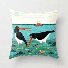 The Oystercatchers Throw Pillow