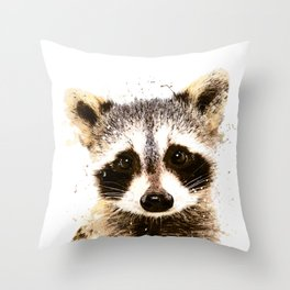 Raccoon Watercolor Print, Woodland Animal Print, Raccoon Wall Art Throw Pillow