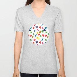 colourful alphabet Unisex V-Neck