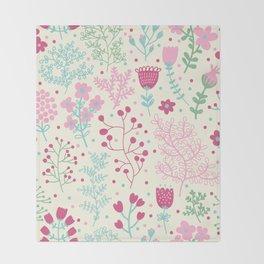Elegant Pink Ditsy Floral Pattern Throw Blanket