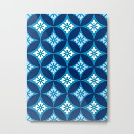 Shippo with Flower Motif, Indigo Blue and White Metal Print