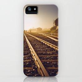 Railway Tracks at sunrise and twilight sky - Landscape Photography #Society6 iPhone Case
