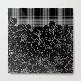 Cherry Blossom Grid Black Metal Print