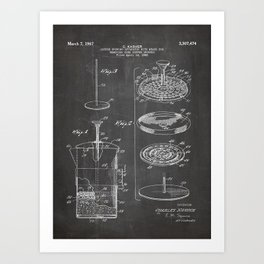 Coffee Filter Patent - Coffee Shop Art - Black Chalkboard Art Print