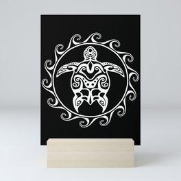 White Tribal Turtle Mini Art Print