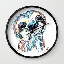 Smiling sloth baby colorful watercolor painting Wall Clock
