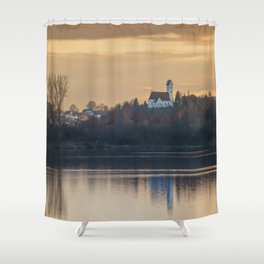 Nature lake and view to St.Martins Church Shower Curtain