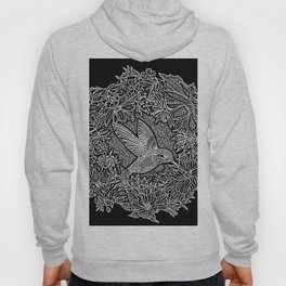 Hummingbird In Flowery Wreath Linocut Hoody