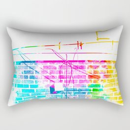 brick building with colorful painting abstract in pink blue yellow green red Rectangular Pillow