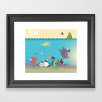 What's going on at the sea? Kids collection Framed Art Print