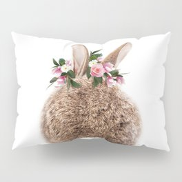 Bunny Tail, Baby Rabbit, Bunny With Flower Crown, Baby Animals Art Print By Synplus Pillow Sham