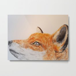 Watercolor Fox Portrait Metal Print