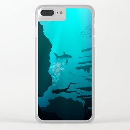 Beautiful coral reef and silhouettes of diver and school of fish in a blue sea Clear iPhone Case