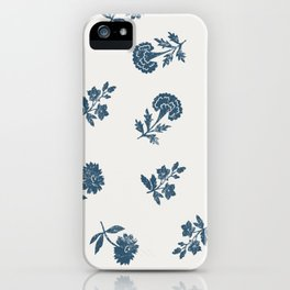Lino print blue floral iPhone Case