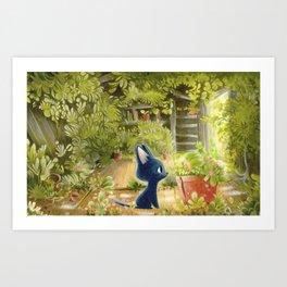 Little black cat and plants Art Print