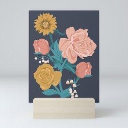 Paint by Numbers Florals on Navy Mini Art Print